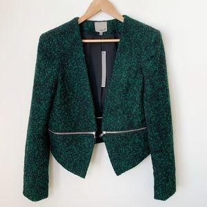 Aryn K Cropped Blazer W/ Detachable Zips L NWT